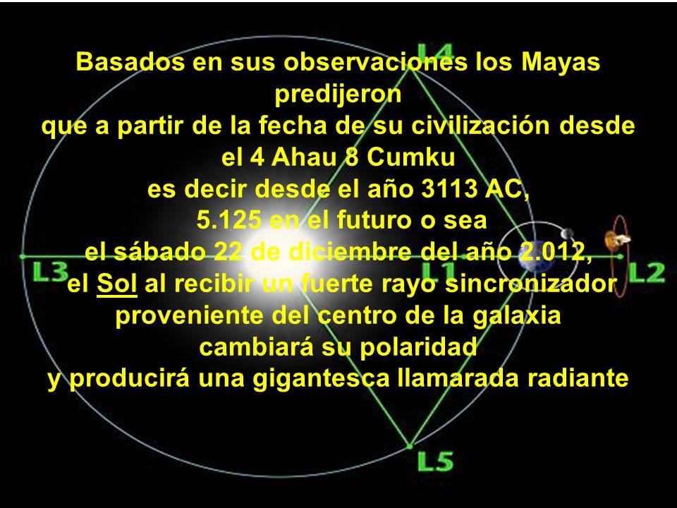 Basados en sus observaciones los Mayas predijeron que a partir de la fecha de su civilización desde el 4 Ahau 8 Cumku es decir desde el año 3113 AC, 5.125 en el futuro o sea el sábado 22 de diciembre del año 2.012, el Sol al recibir un fuerte rayo sincronizador proveniente del centro de la galaxia cambiará su polaridad y producirá una gigantesca llamarada radiante