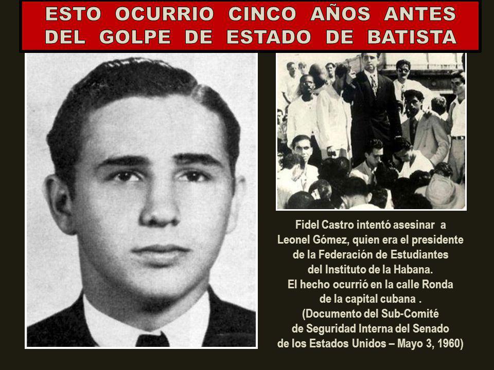 ¿QUIEN ERA EL PRESIDENTE CUBANO EN AQUEL 26 DE FEBRERO DE 1948? MUCHOS CREEN QUE EL ASESINATO DE MANOLO CASTRO (PRIMERO A LA DERECHA) FUE EL PRIMER CR