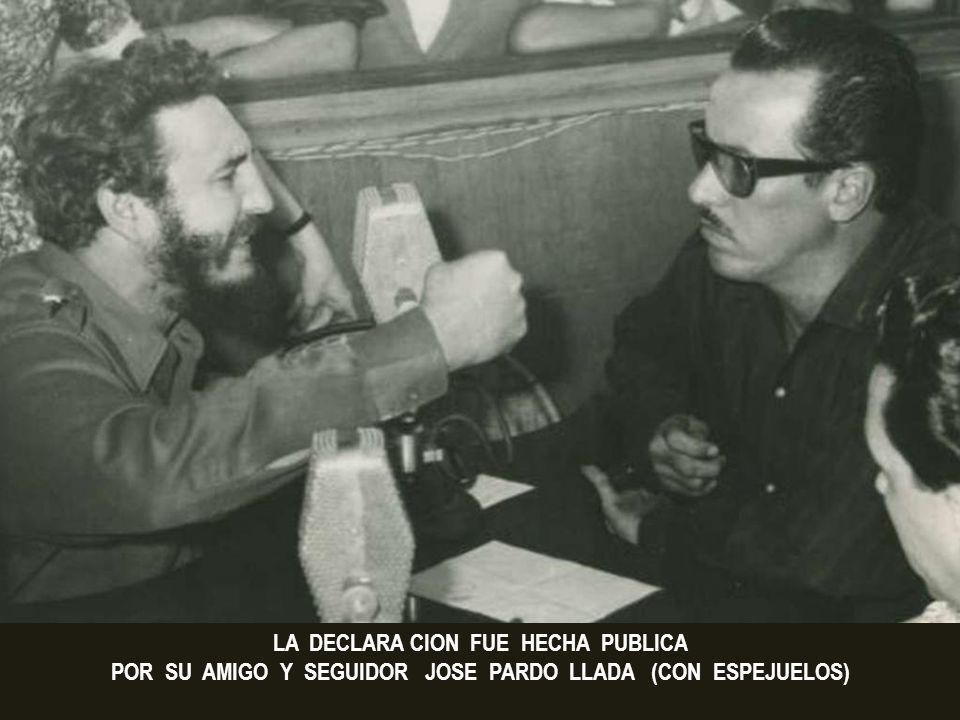 El asesino Fidel Castro observa detenidamente a Eduardo Chivás (en su programa dominical) poco tiempo antes de que este se suicidara