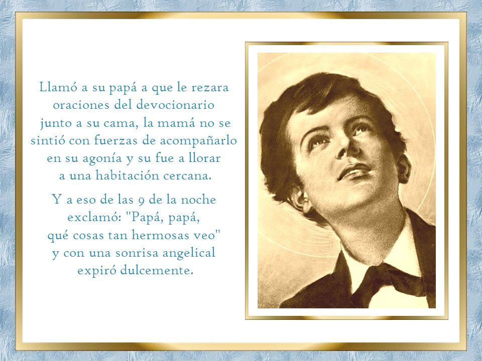 El 9 de marzo de 1857, cuando estaba para cumplir los 15 años, y cursaba el grado 8º de bachillerato, Domingo, después de confesarse y comulgar y reci