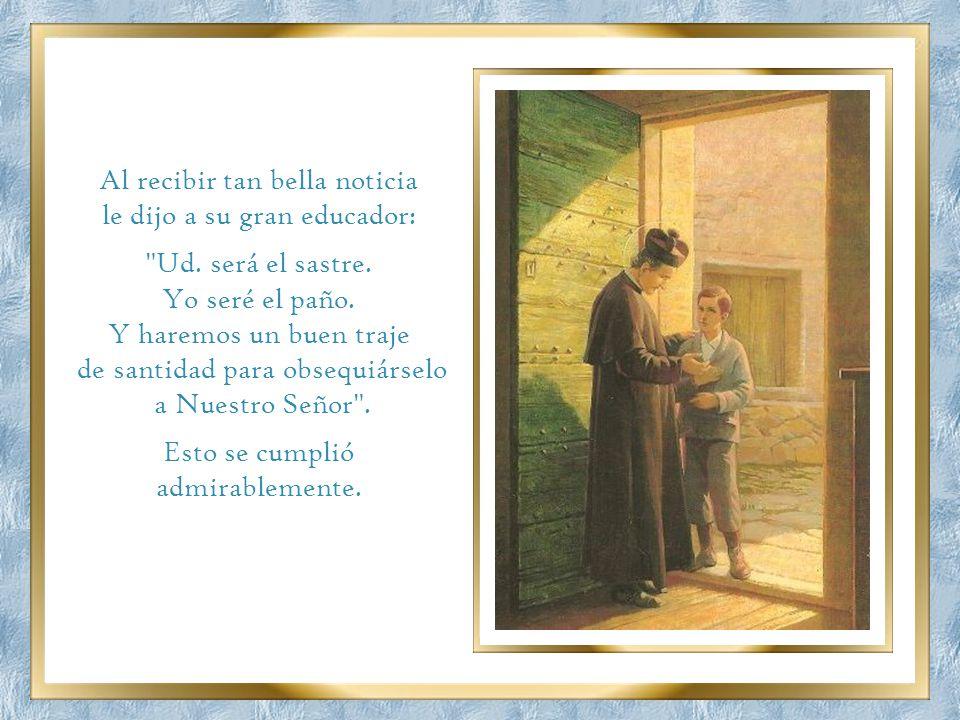 A los 12 años se encontró por primera vez con San Juan Bosco y le pidió que lo admitiera gratuitamente en el colegio que el santo tenía para niños pob