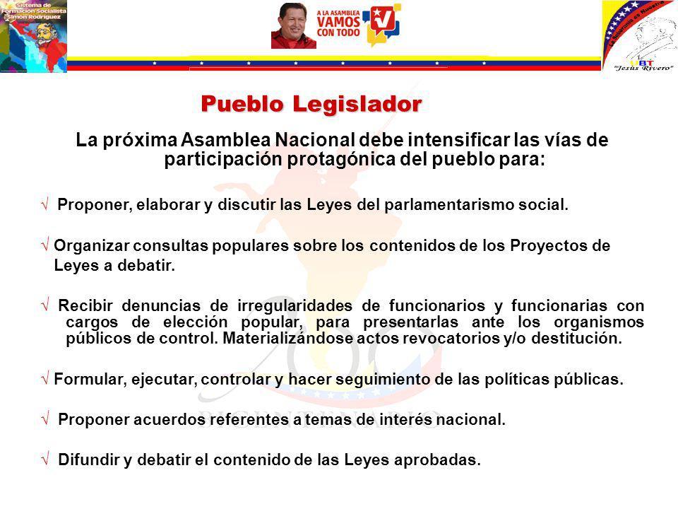 Pueblo Legislador La próxima Asamblea Nacional debe intensificar las vías de participación protagónica del pueblo para: Proponer, elaborar y discutir las Leyes del parlamentarismo social.