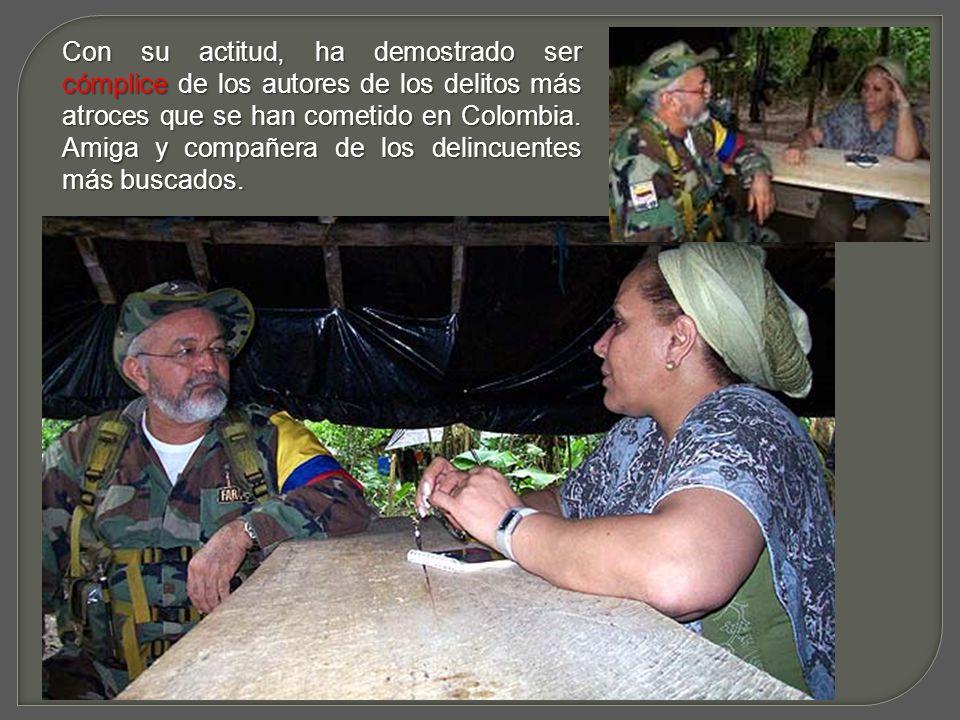 Una apátrida que viaja a otros Países para dar declaraciones que van en contra del pensamiento y anhelo del pueblo Colombiano.