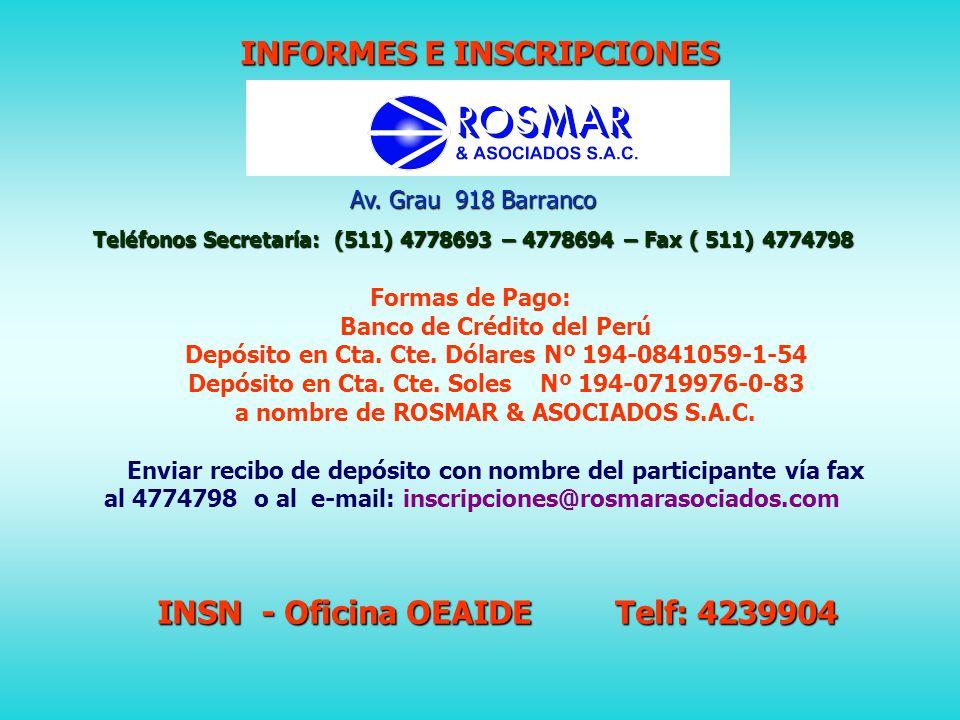 CUOTAS DE INSCRIPCIÓN – En soles PARTICIPANTES DEL INSN PARTICIPANTES DE OTRAS INSTITUCIONES DESCUENTO POR PLANILLA SOLO ENERO 2011 (*) A PARTIR DE ENERO 2011 MÉDICOS PEDIATRAS 348522 MÉDICOS RESIDENTES 348348 ENFERMERAS290406 OTROS PROFESIONALES DE SALUD 348522 MÉDICOS PEDIATRAS PROVINCIAS -348 MÉDICOS RESIDENTES PROVINCIAS -348 INTERNOS MEDICINA Y OTROS 348522 ( *) Para los participantes del INSN, a partir del 01 de febrero, el pago es al contado o con tarjeta de crédito VISA, MASTERCARD O AMERICAN EXPRESS manteniendo el costo diferenciado indicado en la tabla