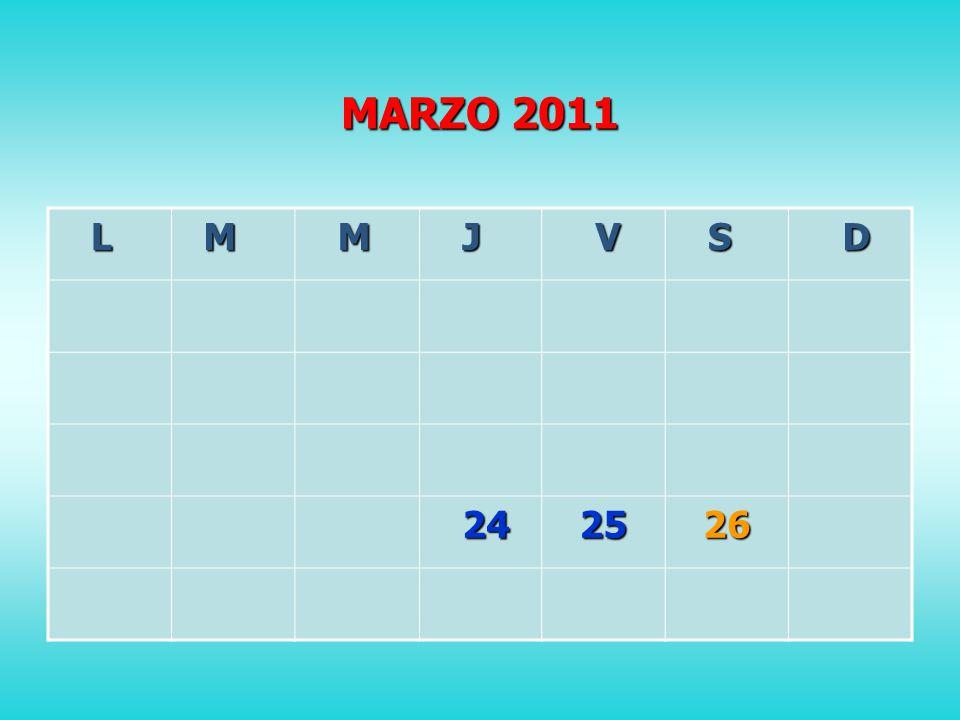 MARZO 2011 L M M J V S D 24 242526