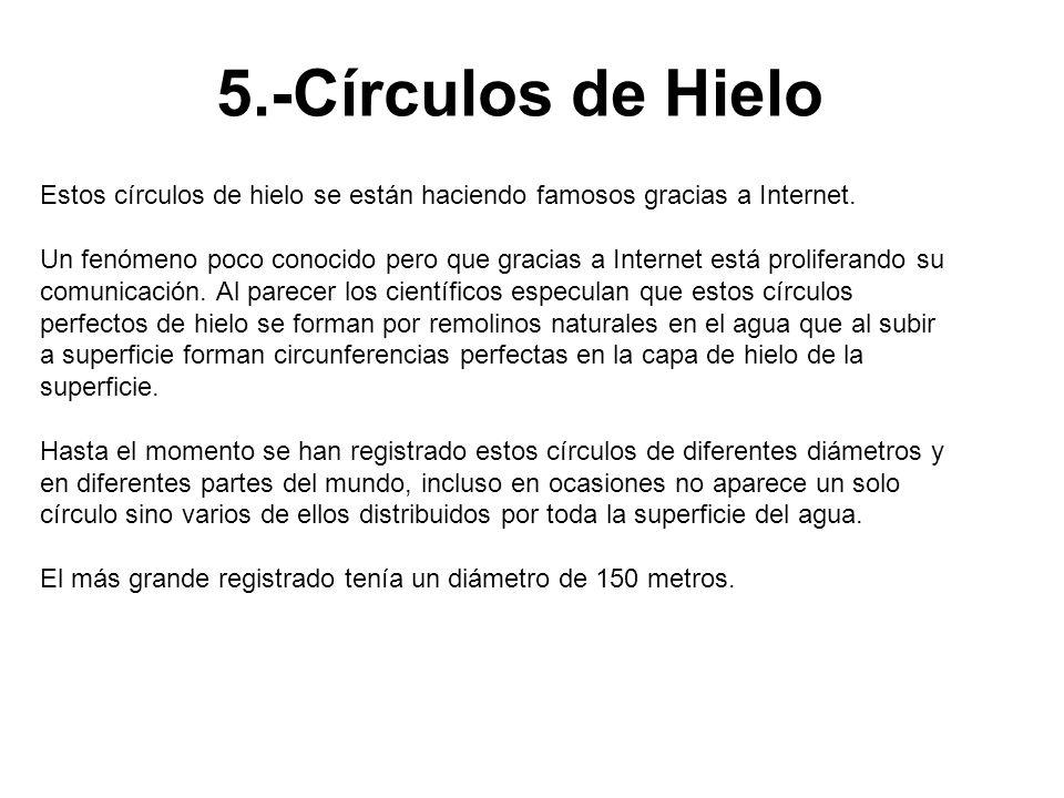 5.-Círculos de Hielo Estos círculos de hielo se están haciendo famosos gracias a Internet. Un fenómeno poco conocido pero que gracias a Internet está