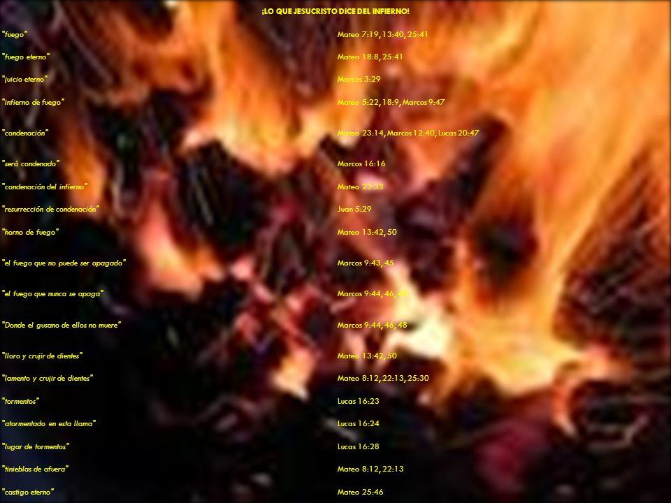 Jesucristo dice en Marcos 9:43-47, 43 Si tu mano te fuere ocasión de caer, córtala: mejor te es entrar a la vida cojo, que teniendo dos pies ser echado en el infierno, al fuego que no puede ser apagado, 45 Y si tu pié te fuere ocasión de caer, córtalo: mejor te es entrar a la vida cojo, que teniendo dos pies ser echado en el infierno, al fuego que no puede ser apagado, 47 Y si tu ojo te fuere ocasión de caer, sácalo: mejor te es entrar en el reino de Dios con un ojo, que teniendo dos ojos ser echado al infierno,