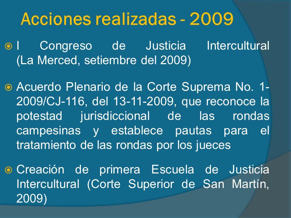 Acciones realizadas - 2010 Creación de Instituto de Justicia Intercultural en la Corte Superior de Cajamarca, y de segunda Escuela de Justicia Intercultural en la Corte Superior de Junín (2010) II Congreso de Justicia Intercultural (Cajamarca, diciembre del 2010)
