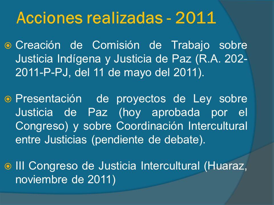 Acciones realizadas - 2011 Creación de Comisión de Trabajo sobre Justicia Indígena y Justicia de Paz (R.A.