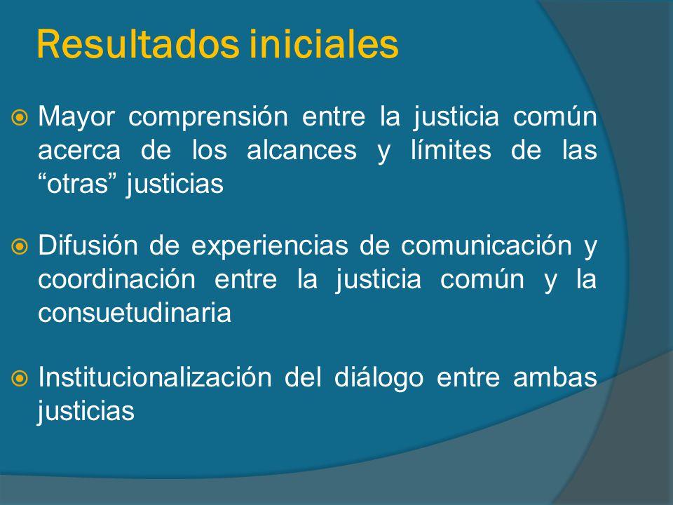 Resultados iniciales Mayor comprensión entre la justicia común acerca de los alcances y límites de las otras justicias Difusión de experiencias de comunicación y coordinación entre la justicia común y la consuetudinaria Institucionalización del diálogo entre ambas justicias