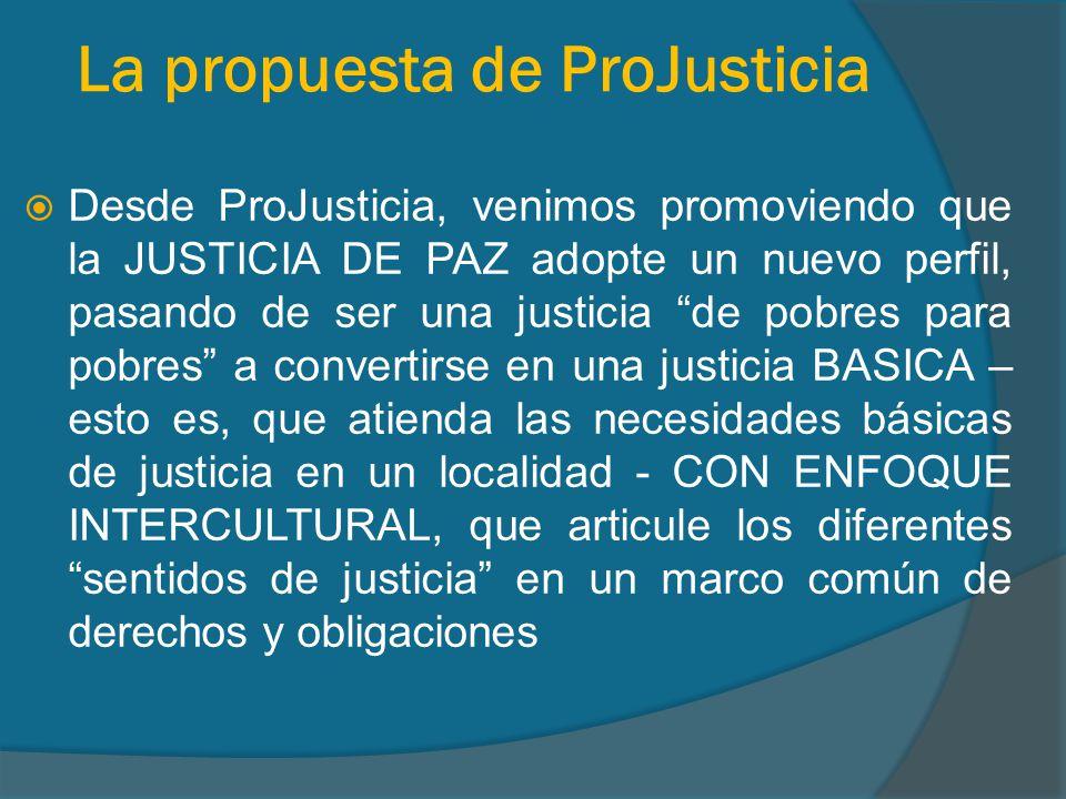 La propuesta de ProJusticia Desde ProJusticia, venimos promoviendo que la JUSTICIA DE PAZ adopte un nuevo perfil, pasando de ser una justicia de pobres para pobres a convertirse en una justicia BASICA – esto es, que atienda las necesidades básicas de justicia en un localidad - CON ENFOQUE INTERCULTURAL, que articule los diferentes sentidos de justicia en un marco común de derechos y obligaciones