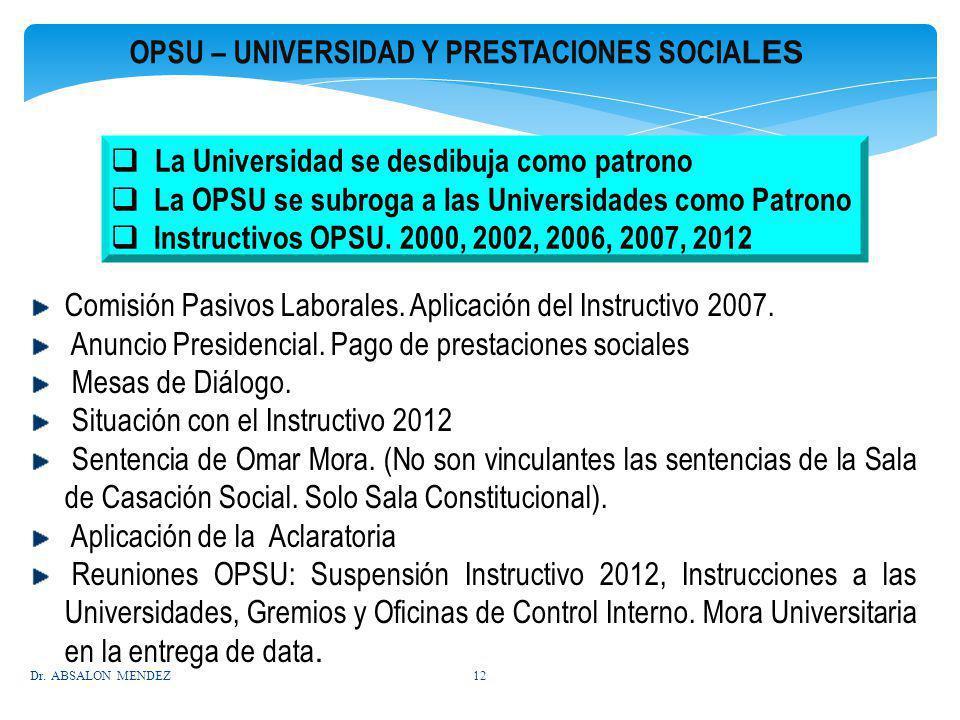 OPSU – UNIVERSIDAD Y PRESTACIONES SOCIA LES La Universidad se desdibuja como patrono La OPSU se subroga a las Universidades como Patrono Instructivos