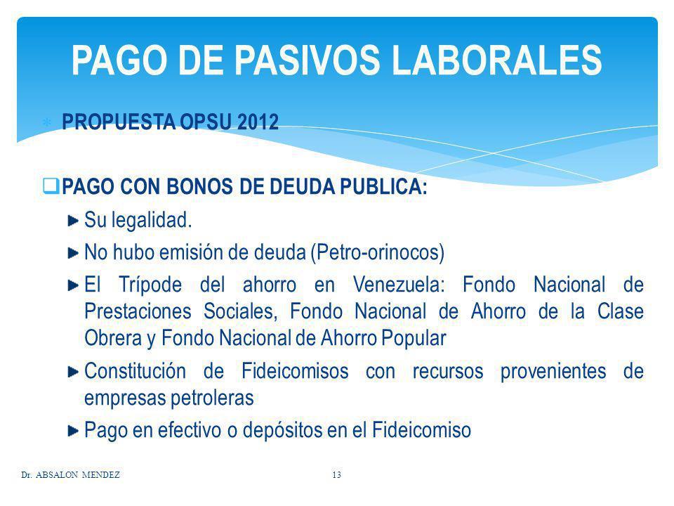 PROPUESTA OPSU 2012 PAGO CON BONOS DE DEUDA PUBLICA: Su legalidad. No hubo emisión de deuda (Petro-orinocos) El Trípode del ahorro en Venezuela: Fondo