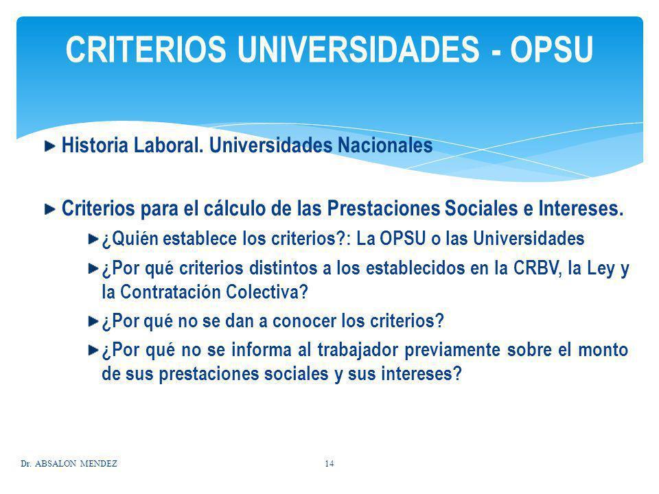 Historia Laboral. Universidades Nacionales Criterios para el cálculo de las Prestaciones Sociales e Intereses. ¿Quién establece los criterios?: La OPS