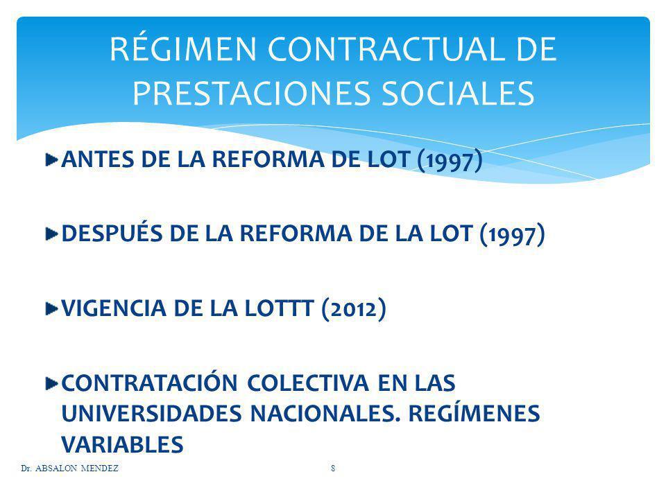 ANTES DE LA REFORMA DE LOT (1997) DESPUÉS DE LA REFORMA DE LA LOT (1997) VIGENCIA DE LA LOTTT (2012) CONTRATACIÓN COLECTIVA EN LAS UNIVERSIDADES NACIO