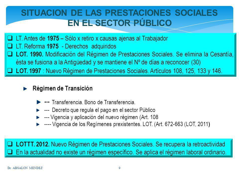 SITUACION DE LAS PRESTACIONES SOCIALES EN EL SECTOR PÚBLICO LT. Antes de 1975 – Sólo x retiro x causas ajenas al Trabajador LT. Reforma 1975 - Derecho