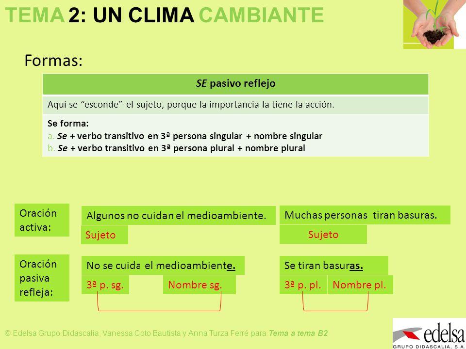 TEMA 2: UN CLIMA CAMBIANTE © Edelsa Grupo Didascalia, Vanessa Coto Bautista y Anna Turza Ferré para Tema a tema B2 Formas: SE pasivo reflejo Aquí se e