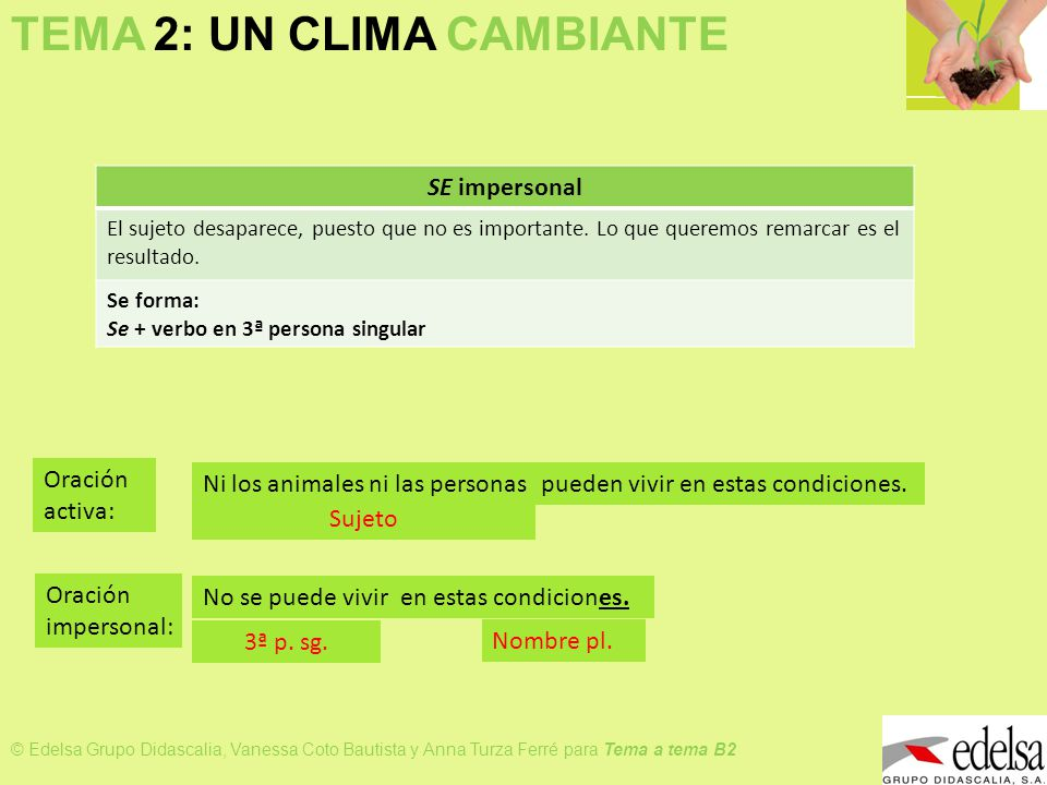 TEMA 2: UN CLIMA CAMBIANTE © Edelsa Grupo Didascalia, Vanessa Coto Bautista y Anna Turza Ferré para Tema a tema B2 SE impersonal El sujeto desaparece,