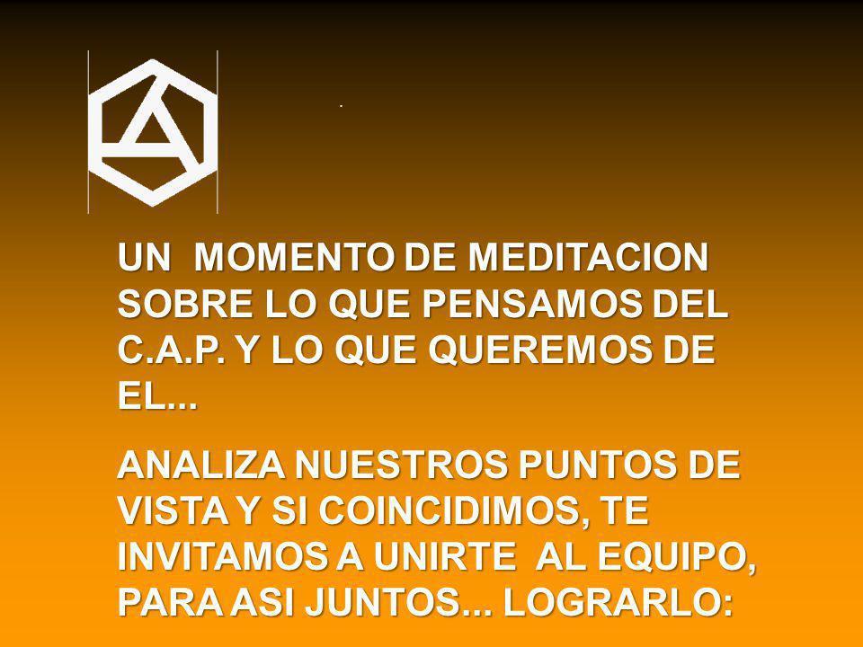 UN MOMENTO DE MEDITACION SOBRE LO QUE PENSAMOS DEL C.A.P.