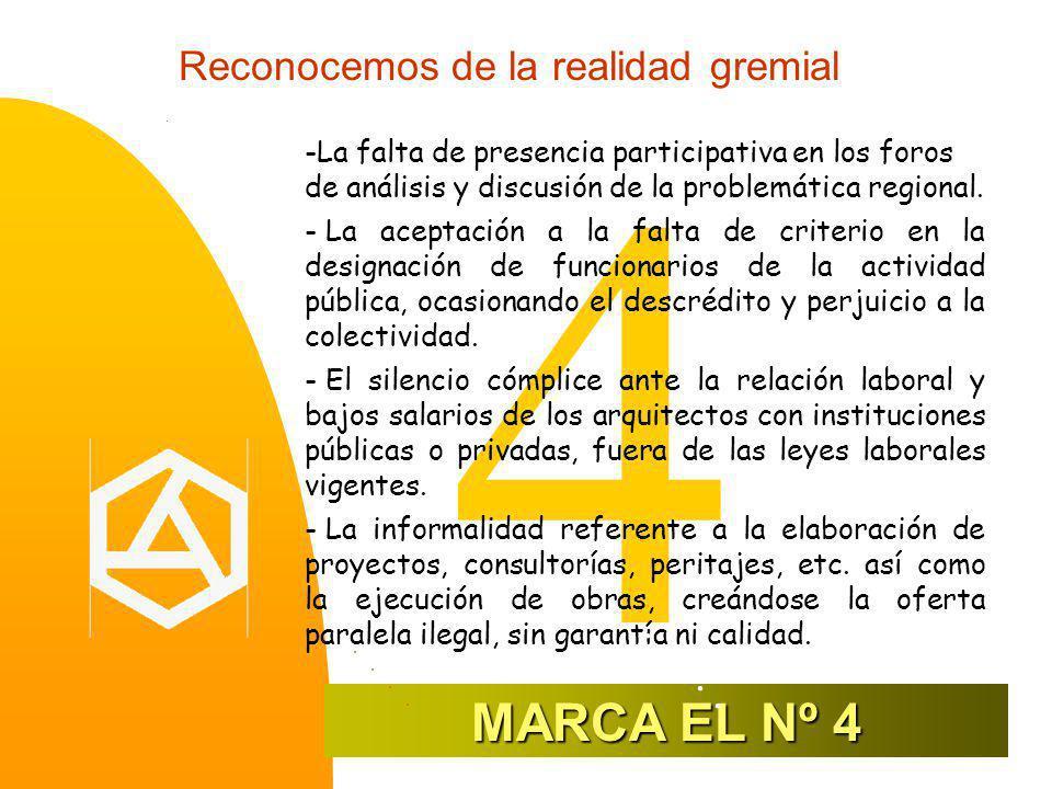 Reconocemos de la realidad gremial 4 -La falta de presencia participativa en los foros de análisis y discusión de la problemática regional.