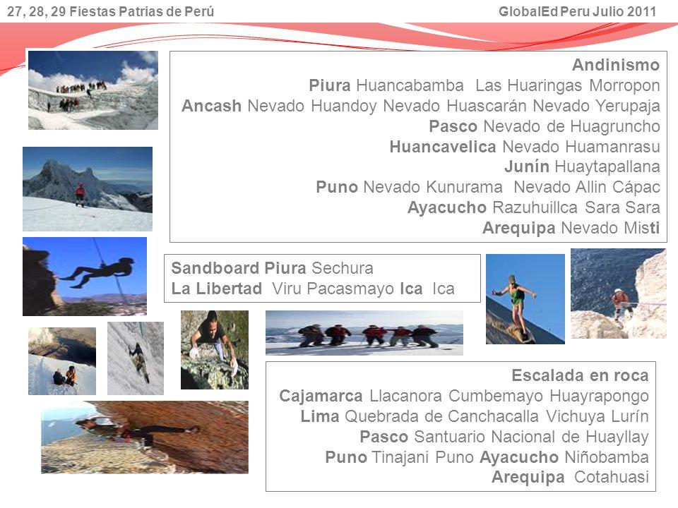 Andinismo Piura Huancabamba Las Huaringas Morropon Ancash Nevado Huandoy Nevado Huascarán Nevado Yerupaja Pasco Nevado de Huagruncho Huancavelica Neva
