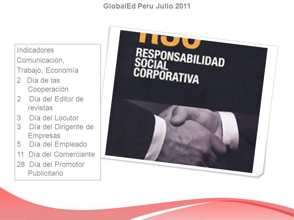Indicadores Comunicación, Trabajo, Economía 2 Día de las Cooperación 2 Día del Editor de revistas 3 Día del Locutor 3 Día del Dirigente de Empresas 5