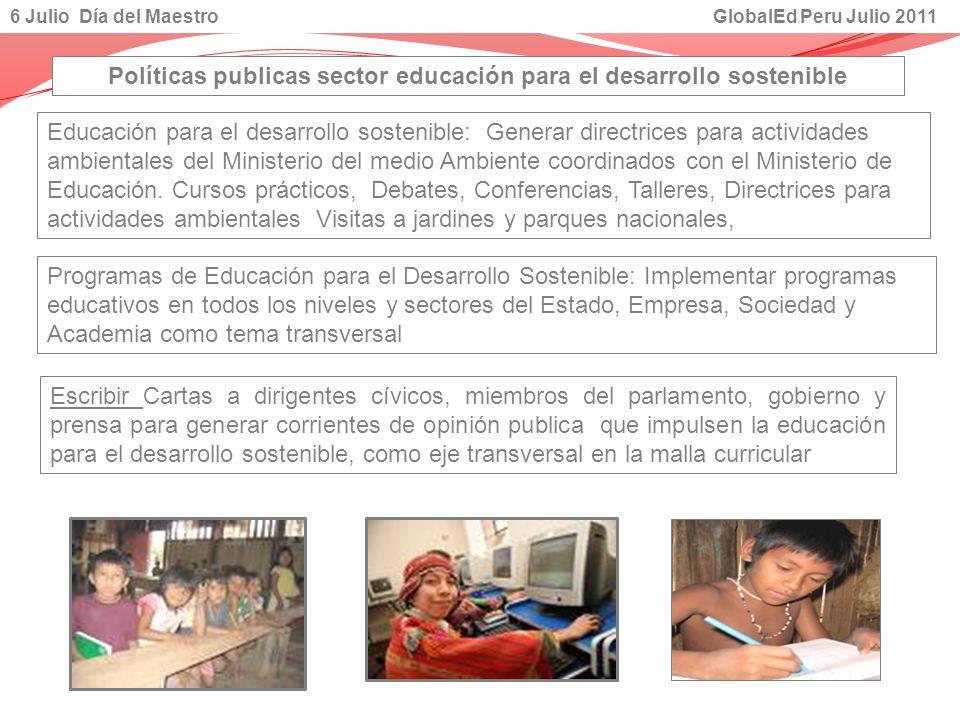 Educación para el desarrollo sostenible: Generar directrices para actividades ambientales del Ministerio del medio Ambiente coordinados con el Ministe