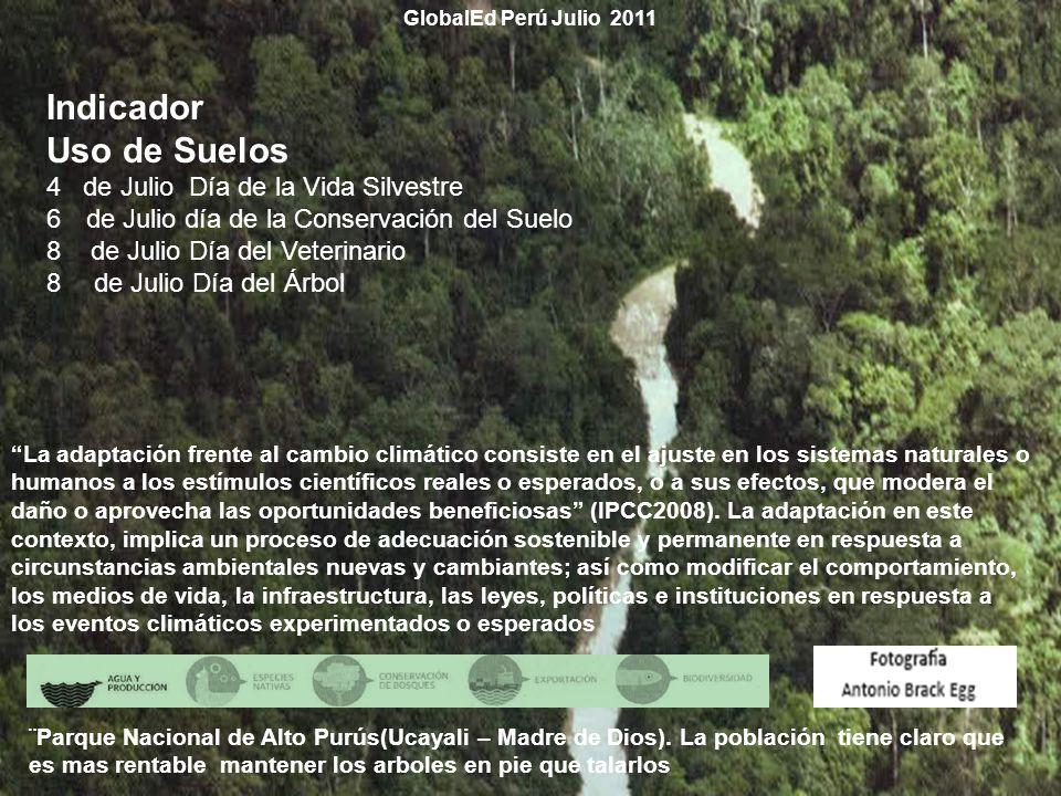 GlobalEd Perú Julio 2011 La adaptación frente al cambio climático consiste en el ajuste en los sistemas naturales o humanos a los estímulos científico