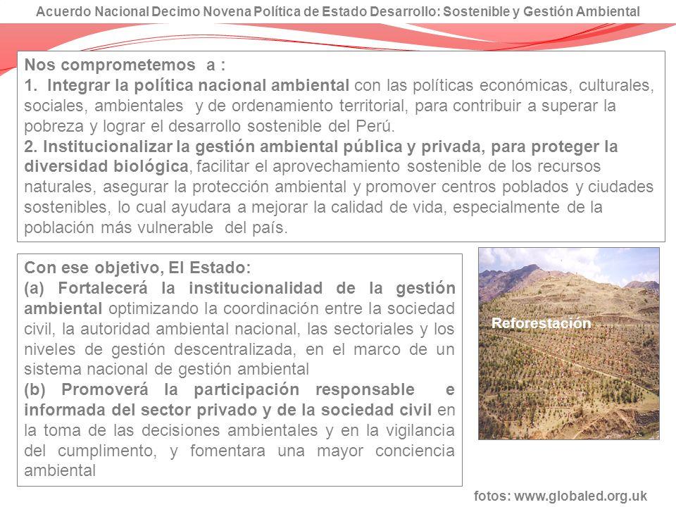 Con ese objetivo, El Estado: (a) Fortalecerá la institucionalidad de la gestión ambiental optimizando la coordinación entre la sociedad civil, la auto