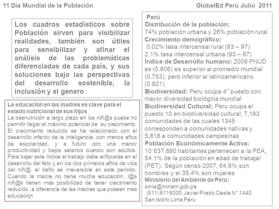 11 Día Mundial de la Población GlobalEd Perú Julio 2011 Los cuadros estadísticos sobre Población sirven para visibilizar realidades, también son útile
