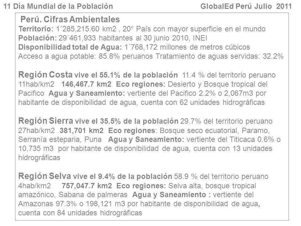 Perú. Cifras Ambientales Territorio: 1´285,215.60 km2, 20° País con mayor superficie en el mundo Población: 29´461,933 habitantes al 30 junio 2010, IN