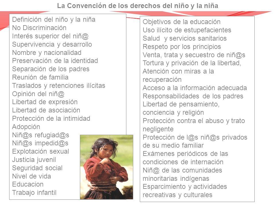 Definición del niño y la niña No Discriminación Interés superior del niñ@ Supervivencia y desarrollo Nombre y nacionalidad Preservación de la identida