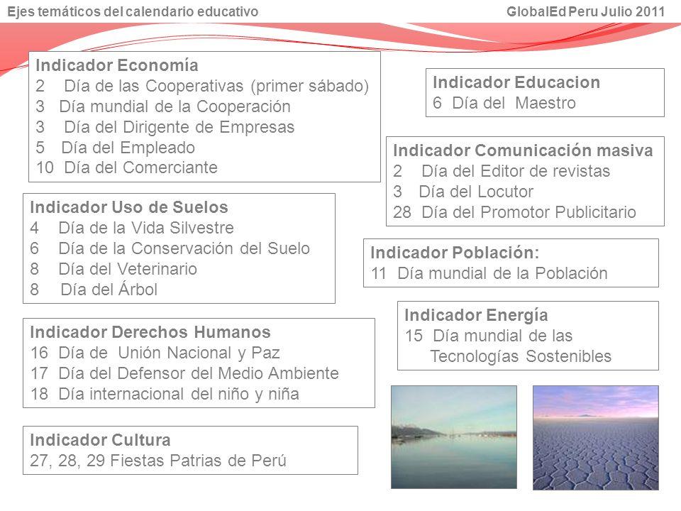 Indicador Cultura 27, 28, 29 Fiestas Patrias de Perú Indicador Economía 2 Día de las Cooperativas (primer sábado) 3 Día mundial de la Cooperación 3 Dí