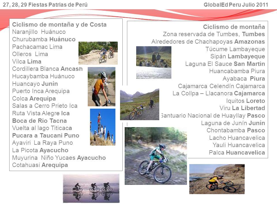 Ciclismo de montaña y de Costa Naranjillo Huánuco Churubamba Huánuco Pachacamac Lima Olleros Lima Vilca Lima Cordillera Blanca Ancash Hucaybamba Huánu