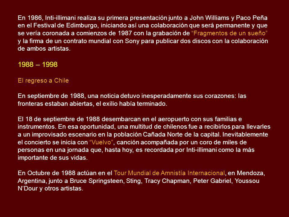 En Marzo de 1974, Inti-illimani graba en Milán La Nueva Canción Chilena, un trabajo que inmediatamente se convierte en éxito, logrando disco de platin