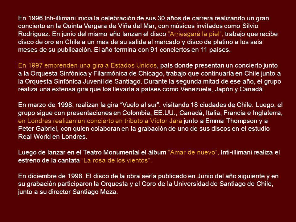 En abril de 1989, Inti-illimani realiza su primera gira nacional en Chile titulada Fragmentos de un sueño. Tocaron en universidades, teatros, plazas y