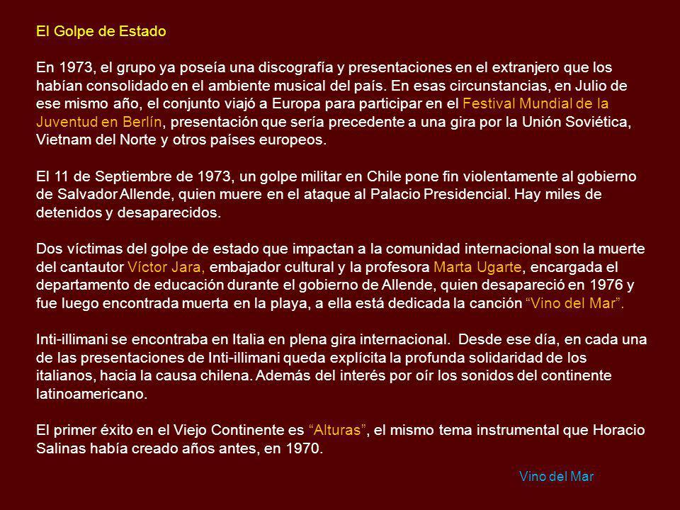 La primera gira internacional: Argentina El año 1968 comenzó con el viaje de Inti-illimani rumbo a Argentina, una gira que según Jorge Coulon, no tuvo
