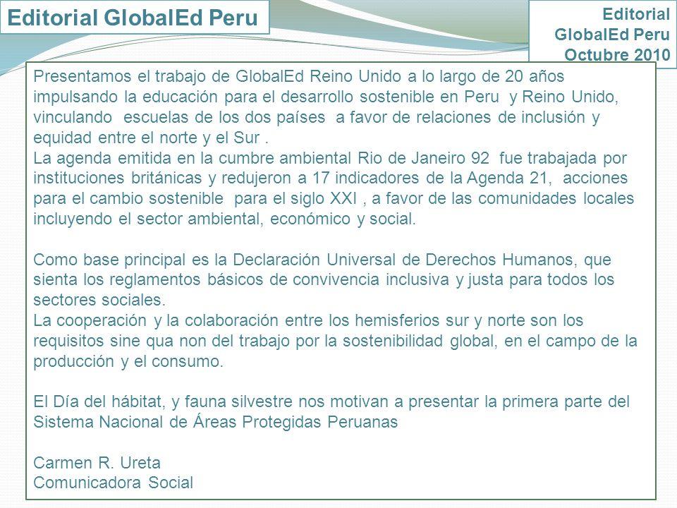 Calendario educativo para el desarrollo sostenible Octubre 2010 Carmen R.