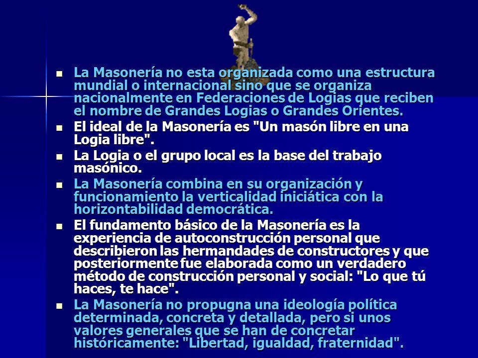 La Masonería no esta organizada como una estructura mundial o internacional sino que se organiza nacionalmente en Federaciones de Logias que reciben e