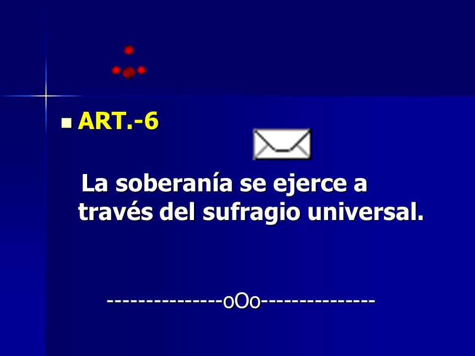 ART.-6 ART.-6 La soberanía se ejerce a través del sufragio universal. La soberanía se ejerce a través del sufragio universal. ---------------oOo------