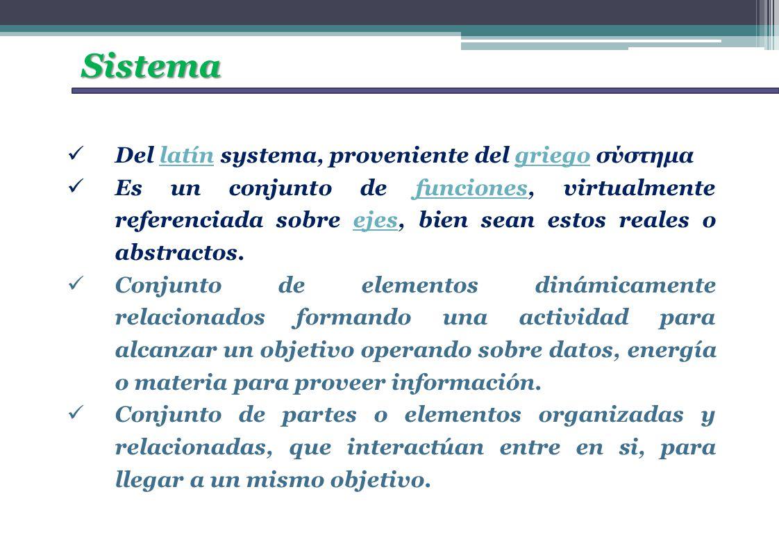 Sistema Del latín systema, proveniente del griego σύστημαlatíngriego Es un conjunto de funciones, virtualmente referenciada sobre ejes, bien sean esto