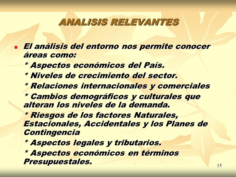 35 ANALISIS RELEVANTES El análisis del entorno nos permite conocer áreas como: El análisis del entorno nos permite conocer áreas como: * Aspectos econ