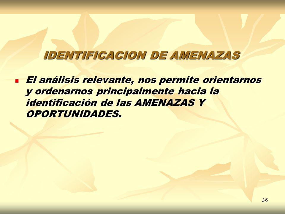 36 IDENTIFICACION DE AMENAZAS El análisis relevante, nos permite orientarnos y ordenarnos principalmente hacia la identificación de las AMENAZAS Y OPO