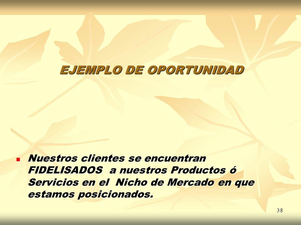 38 EJEMPLO DE OPORTUNIDAD Nuestros clientes se encuentran FIDELISADOS a nuestros Productos ó Servicios en el Nicho de Mercado en que estamos posiciona