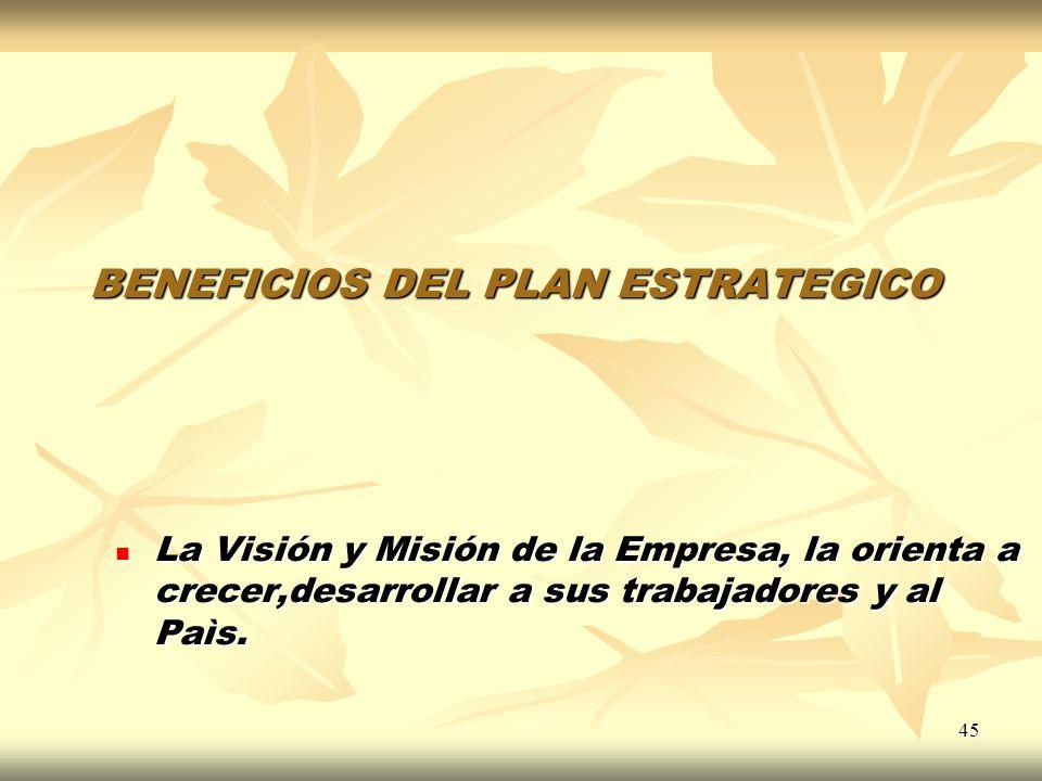 45 BENEFICIOS DEL PLAN ESTRATEGICO La Visión y Misión de la Empresa, la orienta a crecer,desarrollar a sus trabajadores y al Paìs. La Visión y Misión