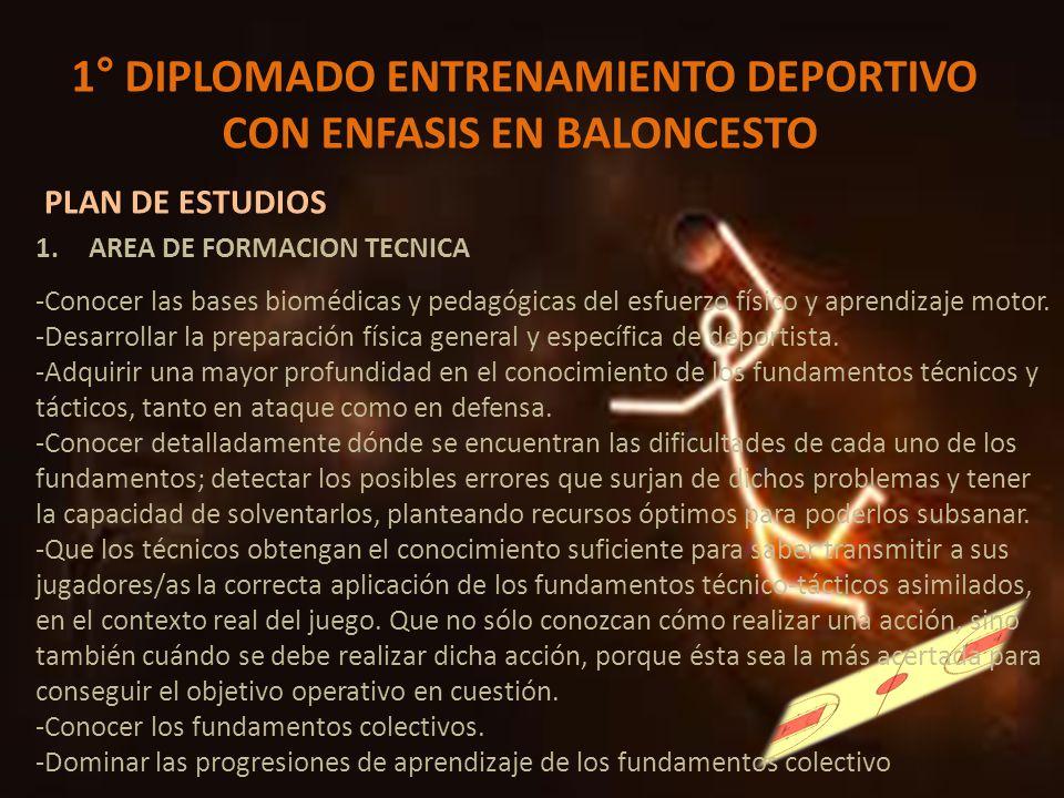 1° DIPLOMADO ENTRENAMIENTO DEPORTIVO CON ENFASIS EN BALONCESTO PLAN DE ESTUDIOS 1.AREA DE FORMACION TECNICA -Conocer las bases biomédicas y pedagógica