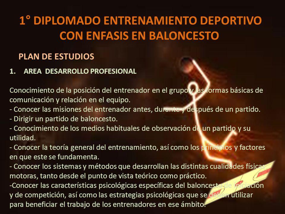 1° DIPLOMADO ENTRENAMIENTO DEPORTIVO CON ENFASIS EN BALONCESTO PLAN DE ESTUDIOS 1.AREA DESARROLLO PROFESIONAL Conocimiento de la posición del entrenad