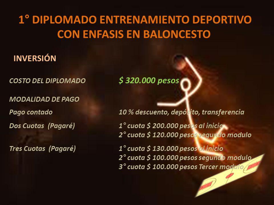 1° DIPLOMADO ENTRENAMIENTO DEPORTIVO CON ENFASIS EN BALONCESTO INVERSIÓN COSTO DEL DIPLOMADO $ 320.000 pesos MODALIDAD DE PAGO Pago contado 10 % descu