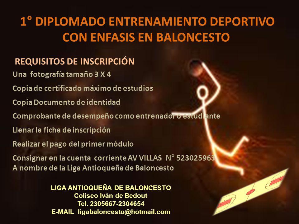 1° DIPLOMADO ENTRENAMIENTO DEPORTIVO CON ENFASIS EN BALONCESTO LIGA ANTIOQUEÑA DE BALONCESTO Coliseo Iván de Bedout Tel. 2305667-2304654 E-MAIL ligaba