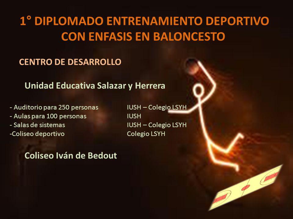 1° DIPLOMADO ENTRENAMIENTO DEPORTIVO CON ENFASIS EN BALONCESTO CENTRO DE DESARROLLO Unidad Educativa Salazar y Herrera - Auditorio para 250 personasIU